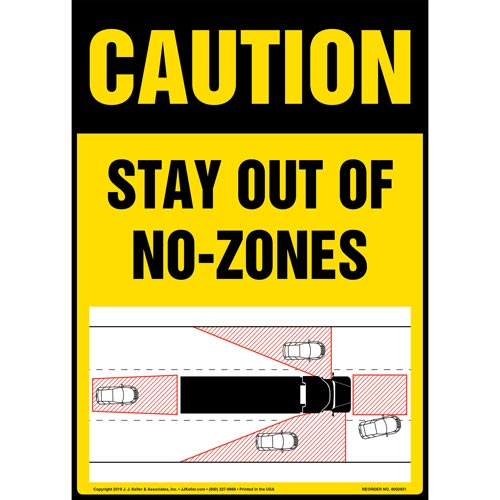 Caution: Stay Out Of No-Zones Sign with Icon - OSHA, Long Format (015881)