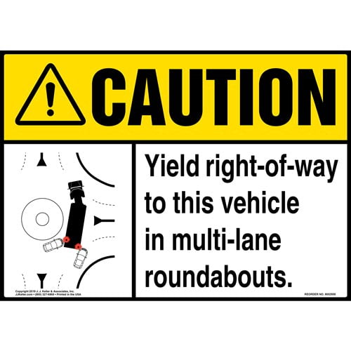 Caution: Yield Right-Of-Way To This Vehicle In Multi-Lane Roundabouts Sign with Icon - ANSI (015886)