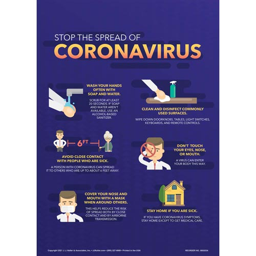 Stop the Spread of Coronavirus Sign (017218)