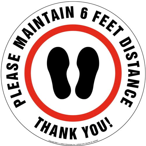 Please Maintain 6 Feet Distance Thank You Floor Decal (017224)