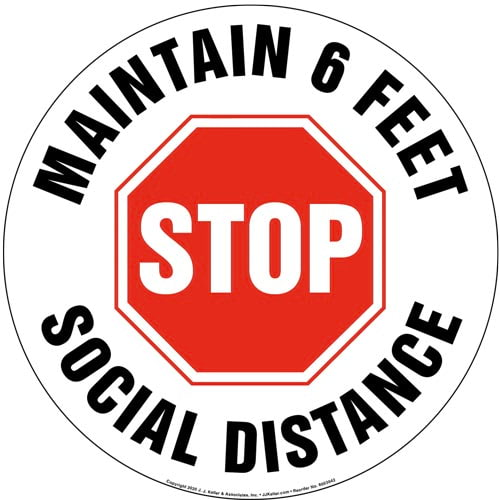 Stop and Maintain 6 Feet Social Distance Floor Decal (017226)