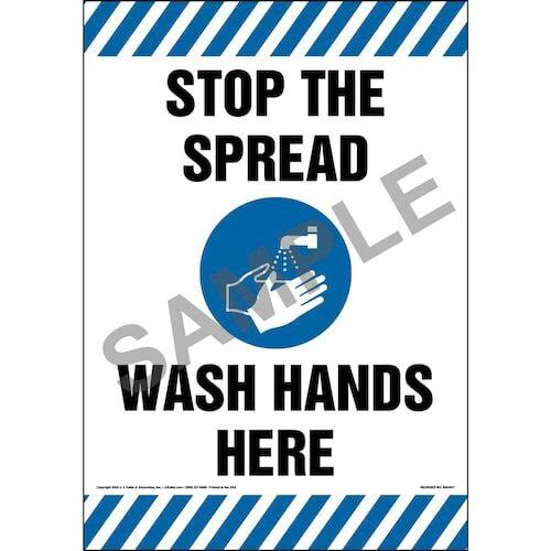Stop The Spread Wash Hands Here Floor Decal (017231)