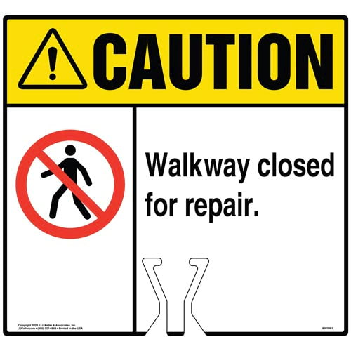 Caution: Walkway Closed Due To Needed Repair Sign with Icon - ANSI (017240)