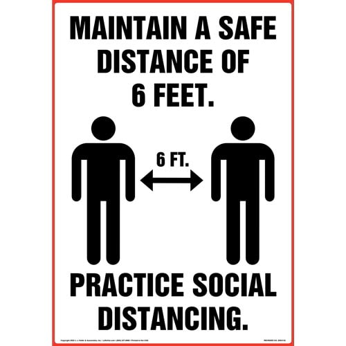 Maintain A Safe Distance Of 6 Feet; Practice Social Distancing Floor Decal (017382)