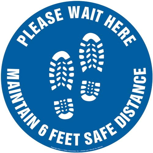 Please Wait Here; Maintain 6 Feet Safe Distance Floor Decal (017384)