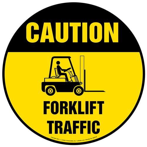 Caution: Forklift Traffic Floor Decal - OSHA (017978)