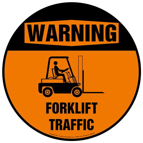 Warning: Forklift Traffic Floor Decal - Old ANSI Style (017979)