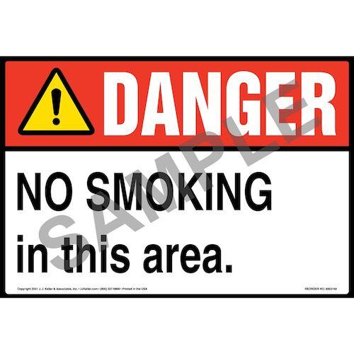 Danger: No Smoking in This Area Sign – ANSI – Extra-Large (018288)