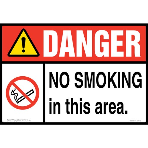 Danger: No Smoking in This Area Sign with Icon – ANSI – Extra-Large (018289)