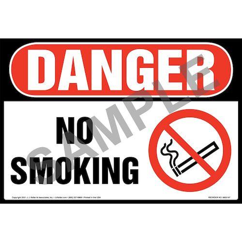 Danger: No Smoking Sign with Icon – OSHA – Extra-Large (018291)