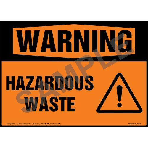 Warning: Hazardous Waste Sign with Symbol - ANSI 1988 (018294)
