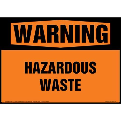 Warning: Hazardous Waste Sign - ANSI 1998 (018295)