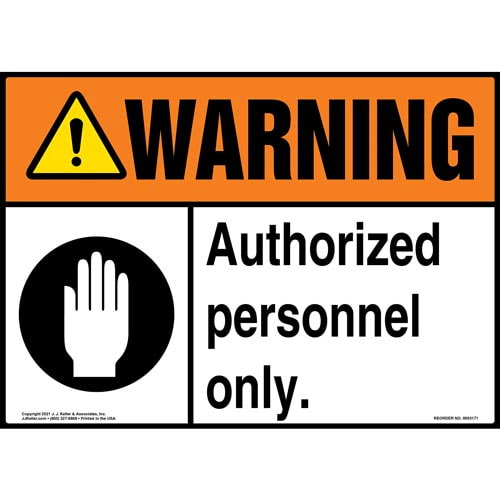 Warning: Authorized Personnel Only Sign with Symbol - ANSI (018296)