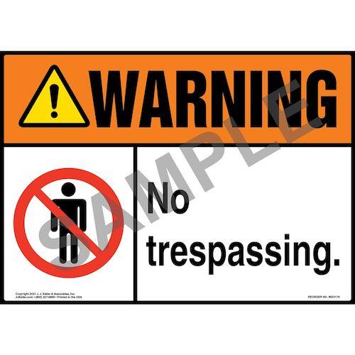 Warning: No Trespassing Sign with Symbol - ANSI (018299)