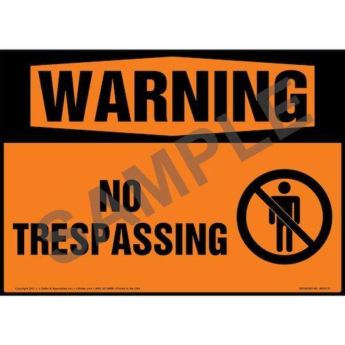 Warning: No Trespassing Sign with Symbol - ANSI 1998 (018300)