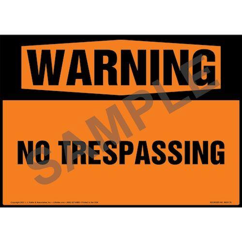 Warning: No Trespassing Sign - ANSI 1998 (018301)