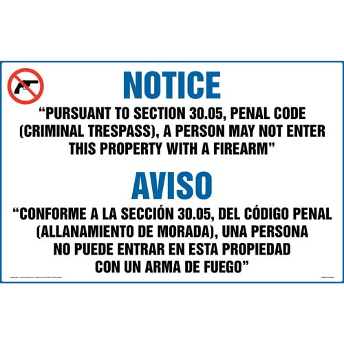 Texas: No Entry to Property with Firearm Sign (30.05) (Bilingual) (018411)