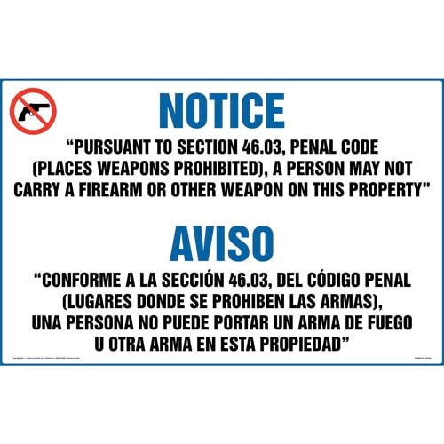 Texas: Prohibit Carry of Firearm or Other Weapon on Property Sign (46.03) (Bilingual) (018412)