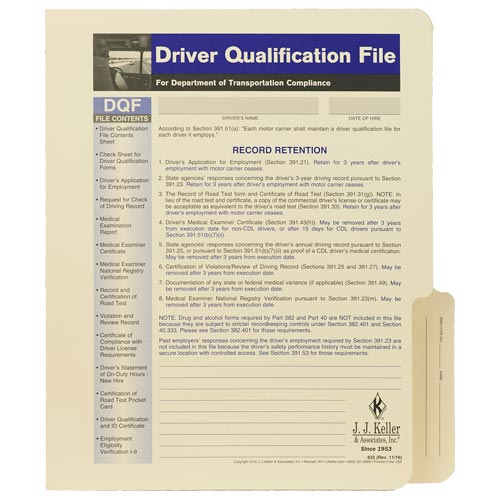 Driver Qualification File Folder - For Two-Copy Forms (00064)