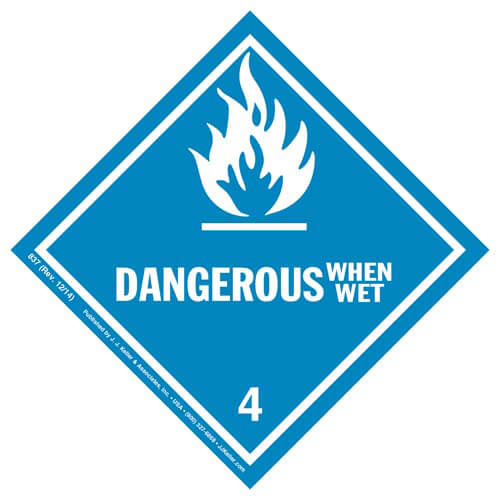 Class 4 Dangerous When Wet Labels (01371)