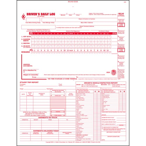 5-In-1 Driver's Daily Log Book, 2-Ply, Carbonless - Stock (04264)