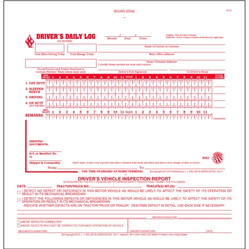 2-In-1 Driver's Daily Log Book w/Simplified DVIR, 2-Ply, w/Carbon, No Recap - Stock (04159)