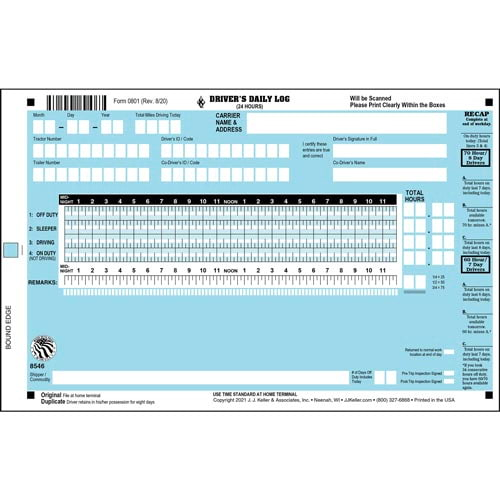 Scannable Driver's Daily Log Book, 2-Ply, w/Carbon, w/Recap, Blue - Stock (04270)