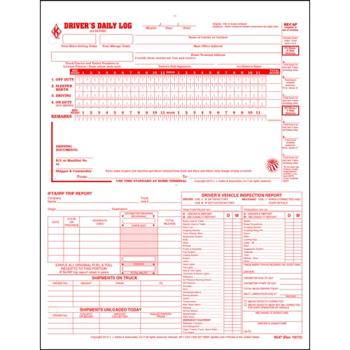 5-In-1 Driver's Daily Log, 2-Ply, Carbonless, Loose-Leaf Format - Stock (04240)