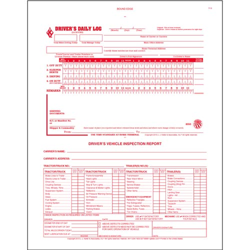 2-In-1 Driver's Daily Log Book w/Detailed DVIR, 2-Ply, w/Carbon, No Recap - Stock (04151)