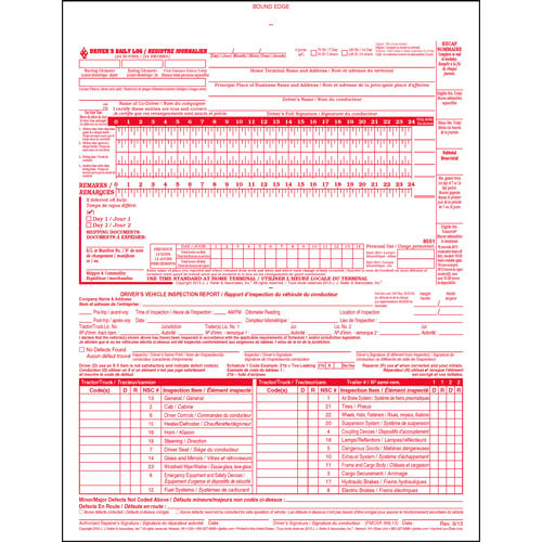 Canadian 2-In-1 Driver's Daily Log Book, Bilingual, 2-Ply, w/Carbon, w/Detailed DVIR - Stock (04258)