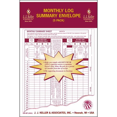 Monthly Log Summary Envelope 5-Pack - Retail Packaging (07050)