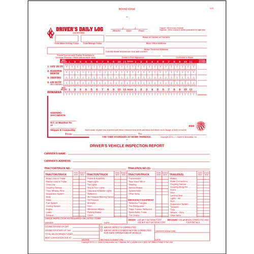 2-In-1 Driver's Daily Log Book w/Detailed DVIR, 3-Ply, w/Carbon, No Recap - Stock (04118)