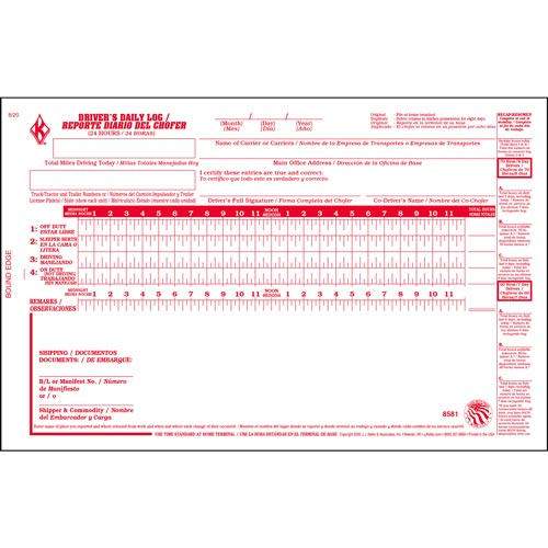 Driver's Daily Log Book, Bilingual, 2-Ply, w/Carbon w/Recap & Simplified DVIR - Stock (04135)