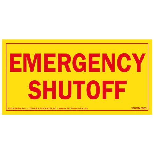 Emergency Shut Off Label (01929)