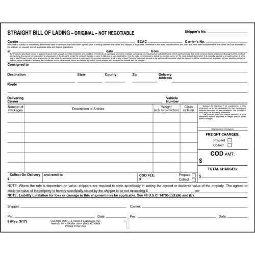 Straight Bill Of Lading - Short Form - Padded, 3-Ply with Carbon (00712)