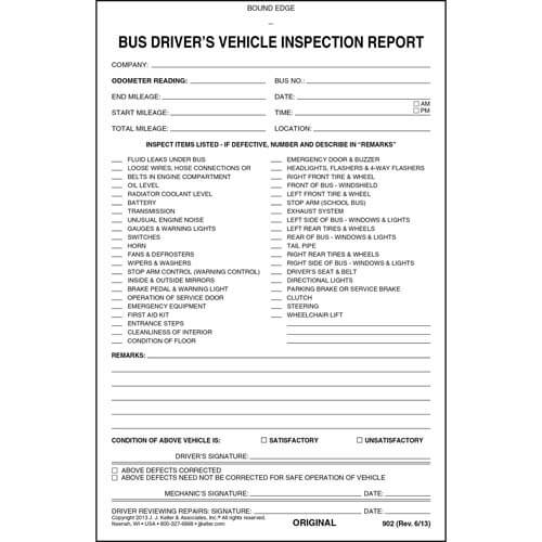 Bus Driver's Vehicle Inspection Report, 2-Ply, w/Carbon - Stock (01488)
