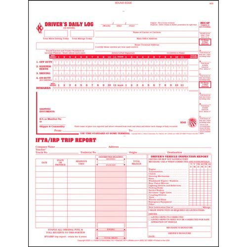 3-In-1 Driver's Daily Log, 2-Ply, Carbonless, Book Format - Stock (04161)