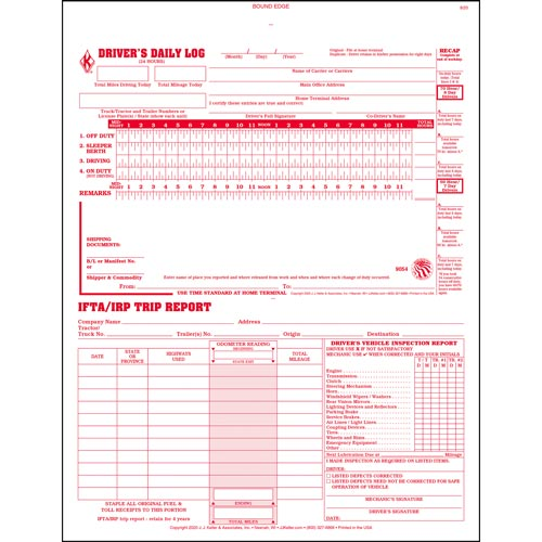 3-In-1 Driver's Daily Log Book, 2-Ply, w/Carbon, Book Format - Stock (04165)
