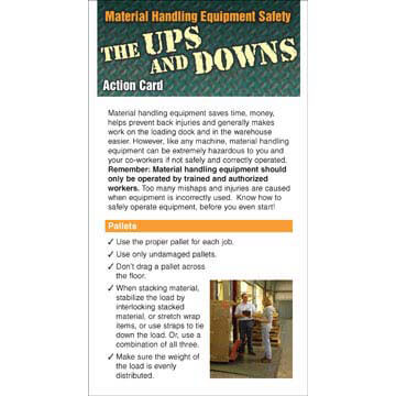 The Ups and Downs of Material Handling Equipment Safety - Action Cards (00381)