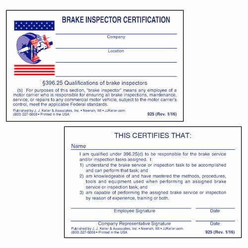 Brake Inspector Wallet Card (00075)