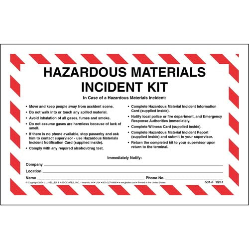 Hazardous Materials Incident Kit in Envelope - No Camera (00965)