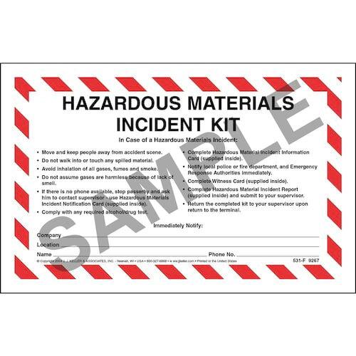 Hazardous Materials Incident Kit in Envelope - No Camera (00965)