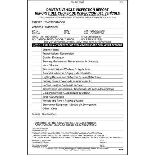 Simplified Driver 39 S Vehicle Inspection Report Bilingual