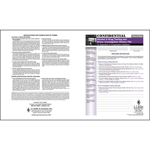 Confidential Alcohol & Drug and Driver Investigation History File Folder (01239)