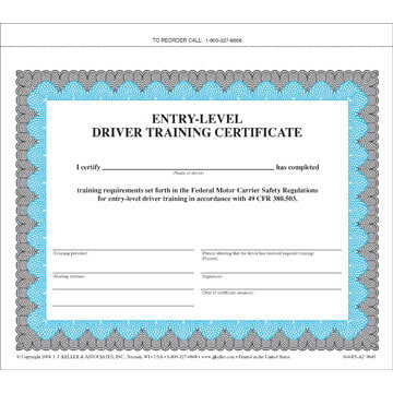 Entry-Level Driver Training Certificate (00824)