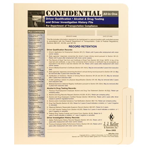 Confidential All-In-One Driver Qualification File Folder - For Two-Copy Forms (00063)