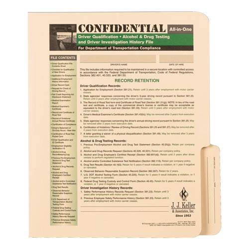 Confidential All-In-One Driver Qualification File Folder - For Single-Copy Forms (00099)