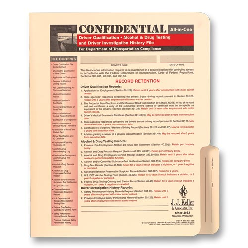 Confidential All-In-One Driver Qualification File Folder - For Snap-Out Forms (01441)