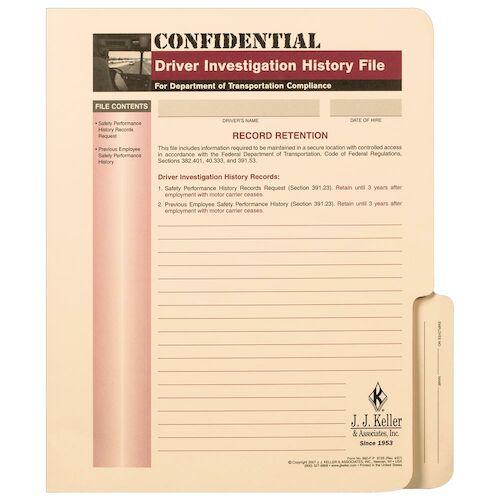 Confidential Driver Investigation History File Folder (01504)