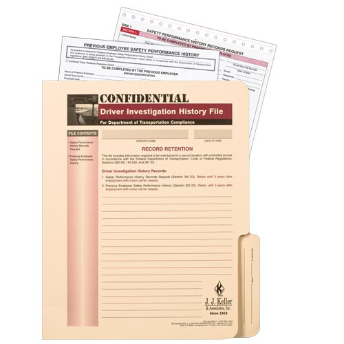 Confidential Driver Investigation History File Packet (01507)